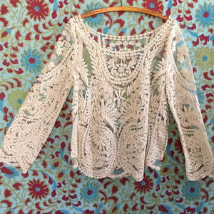Tops - Lace Embroidery and Sheer Top (OS)